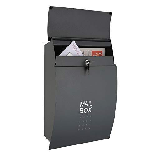HWF Briefkasten Wandbriefkästen Schwarz Briefkasten Wandhalterung, Verriegeln Modern Wetterfest Briefkasten, Verzinktes Metall Draussen Briefkasten