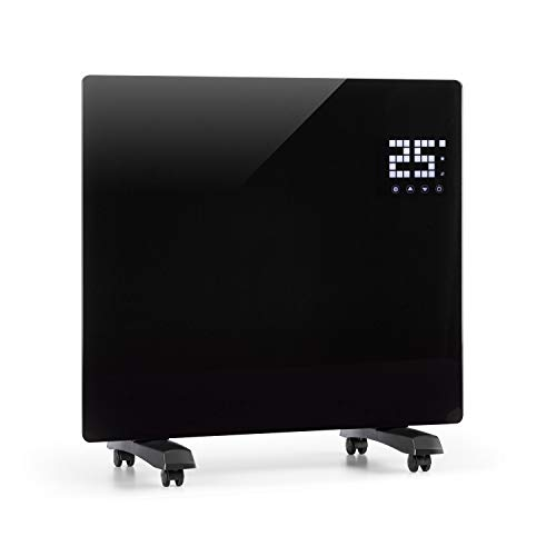 Klarstein Bornholm Single - Calefactor convector eléctrico, Monitor LED camuflado, Control remoto, Modo Eco, Programable por horas hasta 24, Panel de cristal, Radiador de 500/1000W, Negro