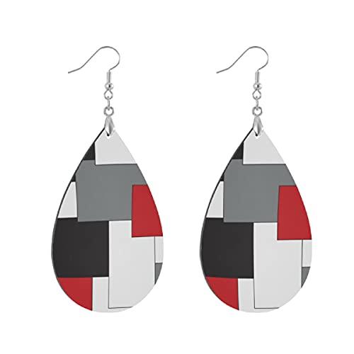 Pendientes de madera de moda gota cuelgan ligeros lágrima pendientes forma gota pendiente para las mujeres joyería bloque de color rojo negro gris blanco