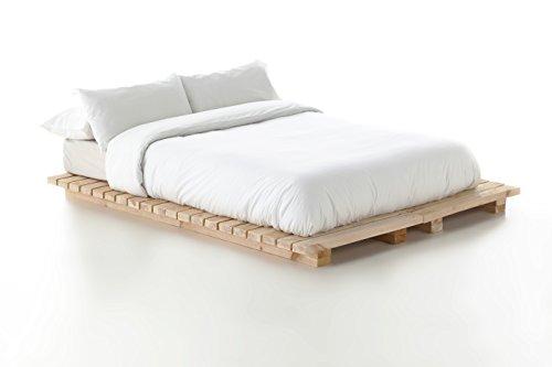 Boltambolta- Cama de Matrimonio, Somier de Madera Natural. Modelo Futón Japonés. 169 (Ancho) x 12 (Alto) x 206 (Largo) cm (No Incluye colchón ni Almohadas).