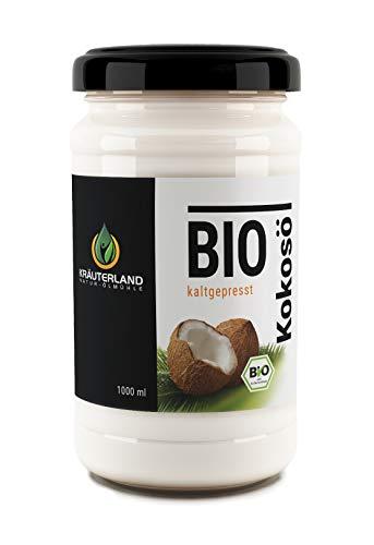 Kräuterland - Bio Kokosöl, Kokosfett 1000ml - 100% rein, premium, vegan, nativ, kaltgepresst, hoch erhitzbar - Laurinsäure 53% - zum Kochen, Braten und Backen in Rohkostqualität(1000ml)