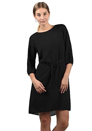 BlendShe Beate Damen Blusenkleid Lange Bluse Kleid Mit Rundhalsausschnitt, Größe:M, Farbe:Black (20100)