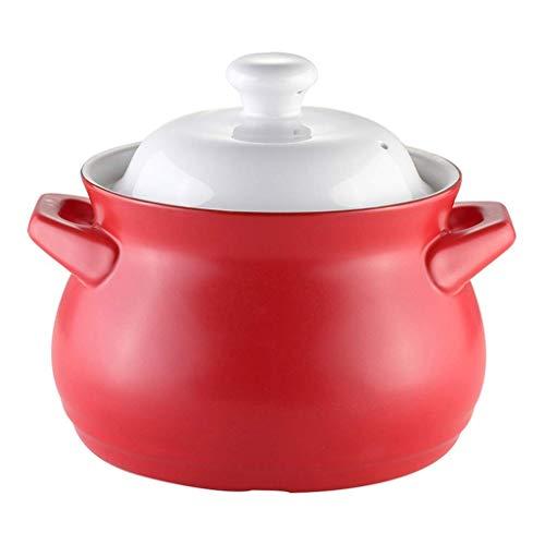 LIUSHI Pot à Soupe antiadhésif de Grande capacité santé Pot en Argile Famille grès cuiseur à Riz ragoût en céramique cocotte Ronde en céramique avec Couvercle E 5l