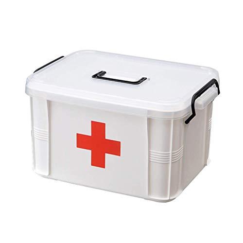 WYYAF Hausapotheke Box, Medizinbox Groß, Kunststoff Dauerhaft 2-Lagen Der Großen Kapazität Arbeitsplatz Nach Hause Reisen