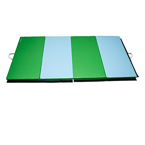 Soozier PU Leather Gymnastics Tumbling/Martial Arts Folding Mat, Light Blue/Green, 4 x 8' x 2'