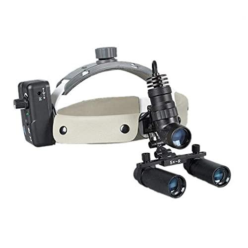 JANEFLY Lupa con luz, Lupa médica 5X 280-600mm Lupa médica Dental Lupa quirúrgica Binocular para Lupa quirúrgica Vasos sanguíneos Ortopedia suturada