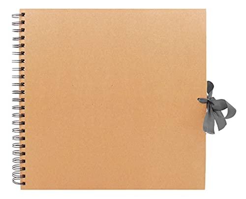 BzBee Braunes Kraftpapier quadratisches Fotoalbum, blanko Leinwand für Kunst, DIY Handwerk, braunes Kraftpapier (groß (30 x 30 cm)