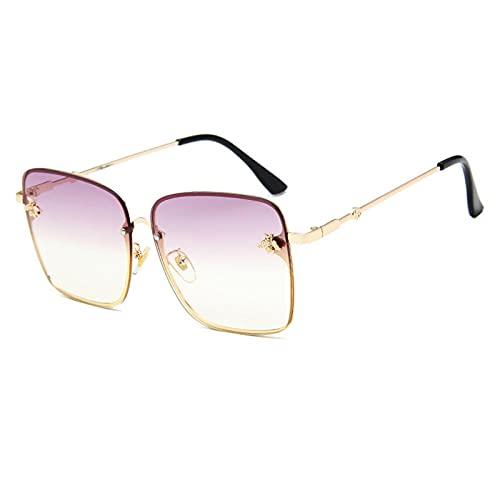 WQZYY&ASDCD Gafas de Sol Gafas De SolCuadradas Sin Montura De Gran Tamaño para Mujer A La Moda paraHombres Y MujeresAnteojosPequeños conGradiente para Mujer-Light_Purple
