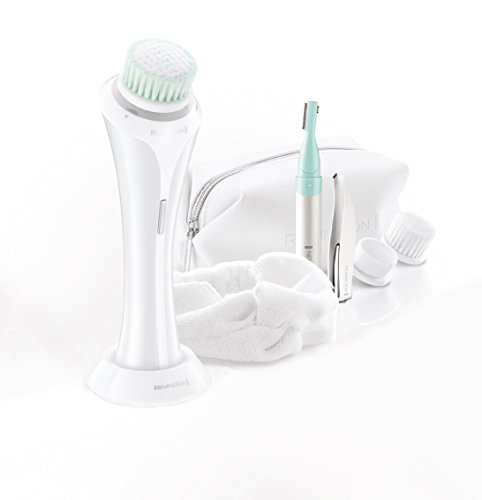 Remington REVEAL LUXE FC1000GP Coffret cadeau brosse nettoyante pour le visage, tondeuse beauté, pince à épiler, trousse de toilette, bandeau, blanc