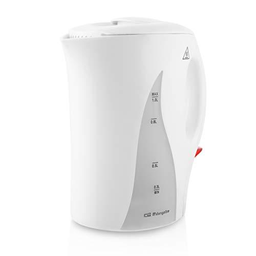 Orbegozo KT 4100 - Hervidor de agua eléctrico, 1 litro de capacidad, libre de BPA, apagado automático o manual, 1000 W de potencia, rápida ebullición