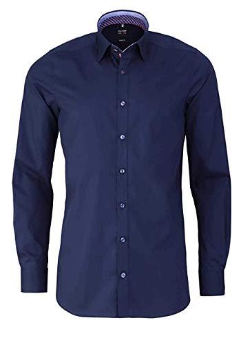 OLYMP Level Five Body fit Hemd extra Langer Arm mit Besatz Nachtblau Größe 44