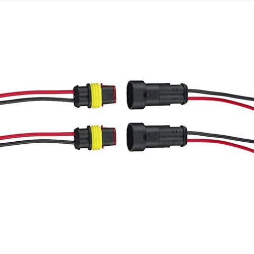 Qiorange 2 TLG 2 Poliger Kabel Steckverbinder Wasserdichter Stecker Nylon Schnellverbinder Superseal mit Draht für KFZ LKW Auto Boote Motorrad (2 Pin 2Pcs)