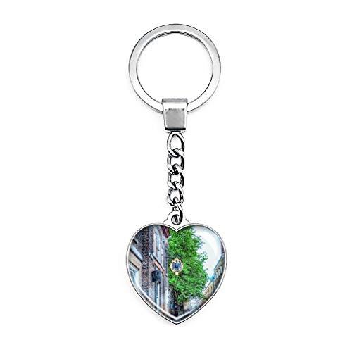 Llavero creativo de metal con forma de corazón de cristal de doble...
