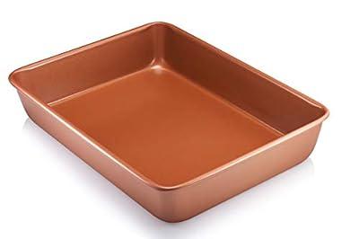 "Gotham Steel Bakeware Nonstick Rectangular Cake Pan, 9"" x 13"" Nonstick Baking Pan, Even Heat & Non-Warp Technology Premium Grade Dishwasher & Metal Utensil Safe, Ceramic Nonstick Coating from E Mishan & Sons"