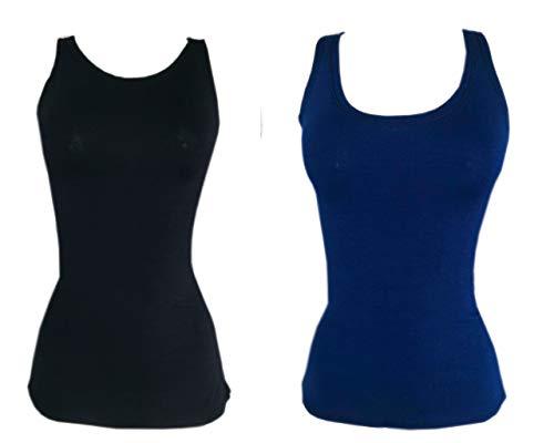 Kit 2 Regata Mullet Plus Size Lisa Feminina Moda PRETO-AZUL G3