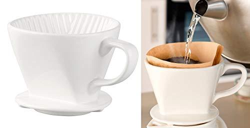Rosenstein & Söhne Kaffeefilter Keramik: Porzellan-Kaffeefilter für Filtertüten der Größe 2, bis 4 Tassen, weiß (Kaffeefilter-Aufsätze)