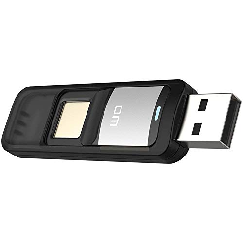 Farsler. Pen drive USB 32GB 64GB con cifrado de huellas dactilares, reconocimiento de alta velocidad, memoria con seguridad de almacenamiento doble (64.00 GB), color dorado