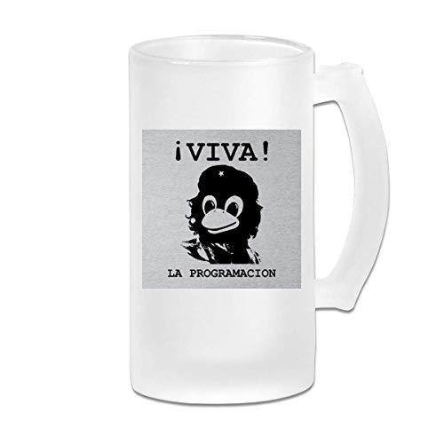 DJNGN Taza impresa de la taza de Stein de la cerveza del vidrio esmerilado de 16 oz Printed 16oz Frosted Glass Beer Stein Mug Cup Viva Programming Tux Linux Che Guevara Graphic Mug