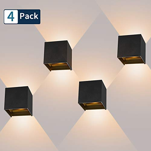 4 Pcs 12W Aplique pared LED Blanco Cálido 3000K 1000lm