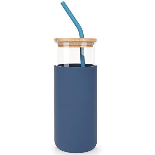 Botella de agua con pajita y tapa, botella de agua de cristal con funda de silicona y tapa de bambú, sin BPA, 450 ml, color azul
