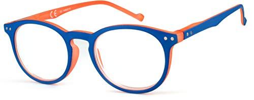 Newvision - Gafas premontadas de lectura, montura bicolor y ligera, efecto mate, gafas redondas vintage, barras con bisagra de resorte, NV3696 (+2.00, naranja)