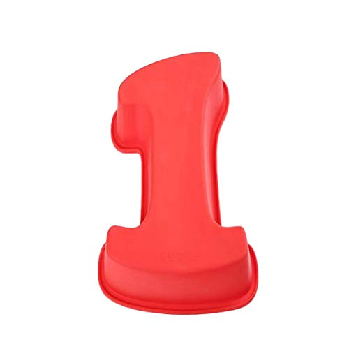 BESTonZON Moule de Cuisson en Silicone numéro 1 Moule de Cuisson en Silicone pour Anniversaire de Naissance Baby Shower (Rouge)