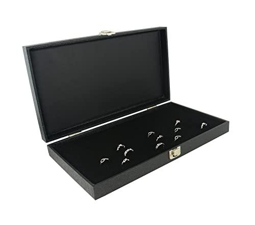 Bandeja de madera Jewellers anillo de almacenamiento vitrina tapa de vidrio cierre a presión – organizador de joyas para la venta al por menor (funda con almohadilla de anillo negro 144)