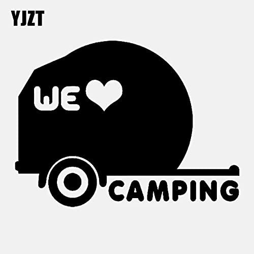JYHW 14,2 CM * 10,3 CM Moda Que Amamos Camping Vinilo calcomanía Coche Pegatina Negro Plata C11-2039 Negro