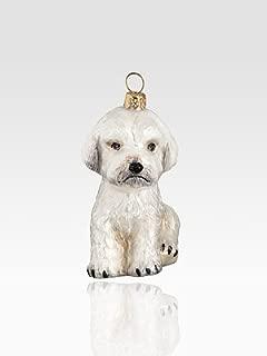White Maltipoo Dog Polish Glass Christmas Ornament Made in Poland Decoration