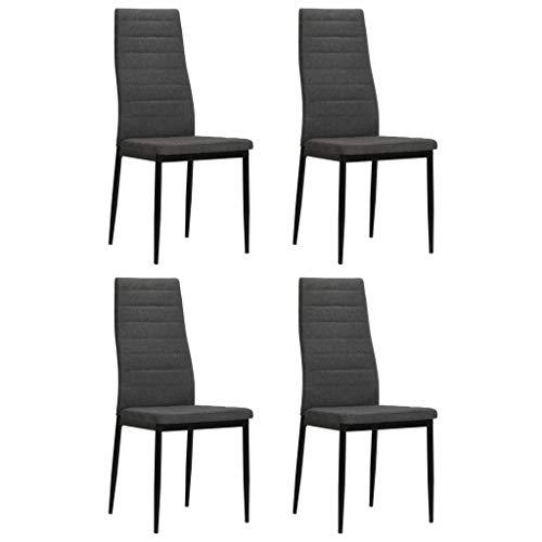 Festnight Set de 4 Sillas de Comedor, Tapicería de Tela con Estructura de Metal, Gris Oscuro, 43 x 44 x 96 cm