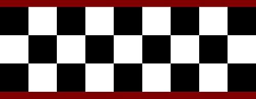 Checkered Flag Cars Nascar Wallpaper Border-4.5 Inch (Red Edge)