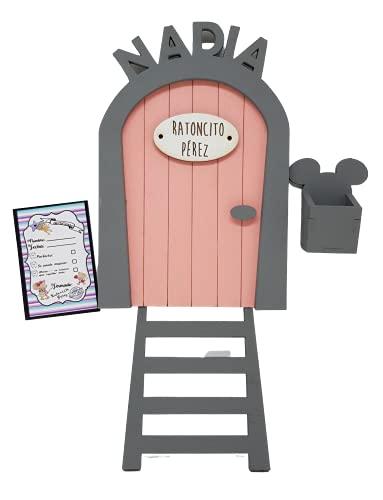 Puerta Ratoncito Pérez rosa PERSONALIZADA de madera, con escalera,buzón y certificado.Producto artesanal hecho en España