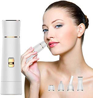 Facial Hair Remover for Women Rechargeable - LOVINA Professional Painless 4 in 1 Electric Hair Removal Shaver Nose Hair Trimmer Eyebrow Trimmer for Ladies/USB Rechargeable