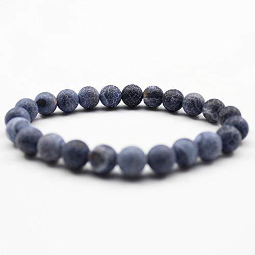 Pulsera Asdas para mujer, de 8 mm, con cuentas de piedra natural, color gris y azul, joyería para hombre y mujer, piedras de lava y mate