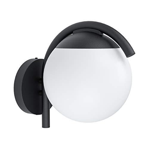 EGLO Lámpara de pared exterior Prata Vecchia, 1 lámpara exterior moderna, minimalista, aplique de acero galvanizado en negro y plástico en blanco, lámpara exterior con casquillo E27, IP44