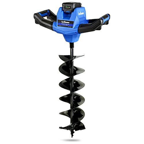 Landworks Earth Auger Power Head Steel 6' Inch x 30' Inch Bit Heavy Duty Electric Cordless Lithium Ion Battery for Earth Burrowing Drilling Post Hole Digging (Earth Auger 6' Inch Set)