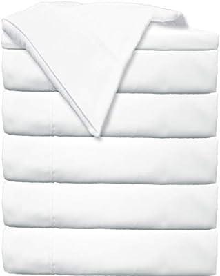 Glarea Microfiber Flat Sheets Bulk Pack (White - 6 Pack, Queen)
