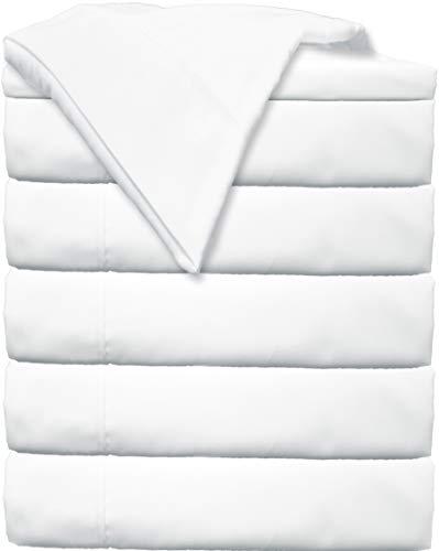 Glarea Microfiber Bed Flat Sheets, White, Twin (Bulk Pack of 6)