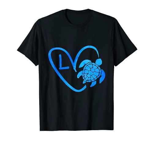 Letra de tortuga marina azul L Monograma inicial corazón Camiseta