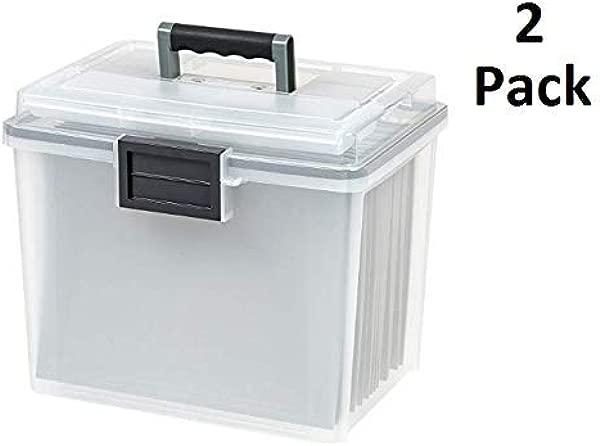 IRIS Letter Size Portable Weathertight 文件盒 2 个装 Clr Clr Gry