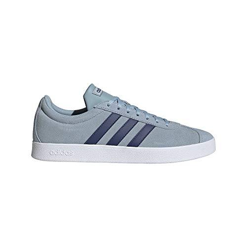 adidas Herren Vl Court 2.0 Turnschuh-Skateboard-Mann, Blau Ash Grey S18 Tech Indigo FTWR White, 41 1/3 EU
