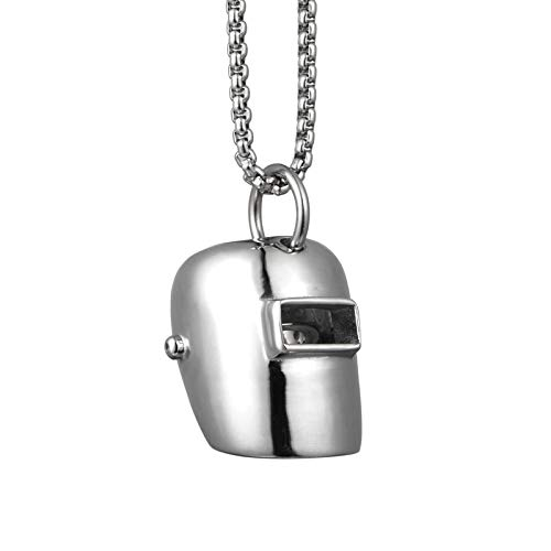 Hiphop Classic Welder Mask Pillar Pendant Necklace Stainless Steel Fashion Jewelry For Men Women Gift
