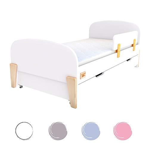 Normastore Kids Kinderbett mit Rausfallschutz 80x160 Bett Schublade Matratze Lattenrost, Mädchen Jungen, Kinder ab 2 Jahren, Einzelbetten RETRO (80x160 mit Matratze mit Schublade, Weiß)