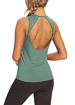 Mippo Open Back Workout Tops for Women Cute Yoga Tank Tops Loose Fit Sleeveless Athletic Gym Tops Tennis Shirts Muscle Tank Summer Workout Clothes for Women Graylish Green M