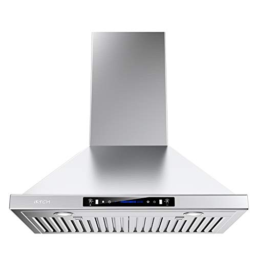 IKTCH Wall Mount Range Hood 36 inch Gesture Sensing & Touch Control Switch Panel Kitchen Vent Hood 900 CFM | Ducted/Ductless Convertible Duct, 2 Pcs Lights Adjustable (Stainless Steel 36'')