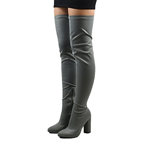 New Womens Thigh High Round Heel Stretch Ladies Over The Knee Long Leg Boots