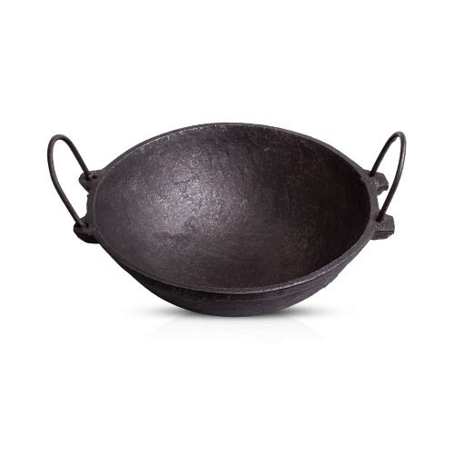 The Indus Valley Pre Seasoned Cast Iron Cookware - 2.5L Kadai/Large Size / 10 Inches Diameter/Pre-Seasoned ]