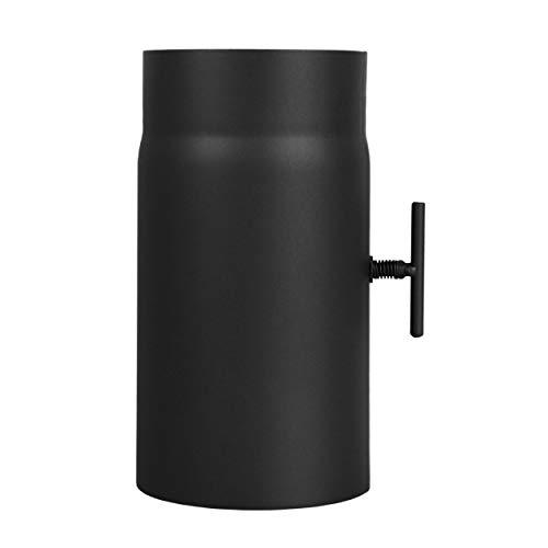 LANZZAS Ofenrohr 250 mm Verlängerung mit Drosselklappe - im Durchmesser Ø 150 mm - Farbe: schwarz - Rauchrohr mit Klappe