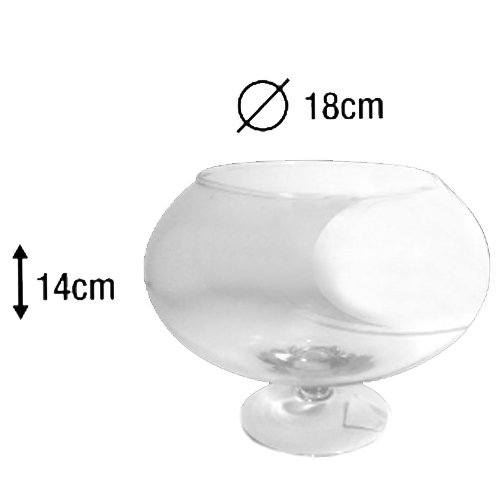 AD Centrotavola Vaso Ampolla biscottiera per confettata caramellata porta confetti in vetro trasparente (CM.18X14h)