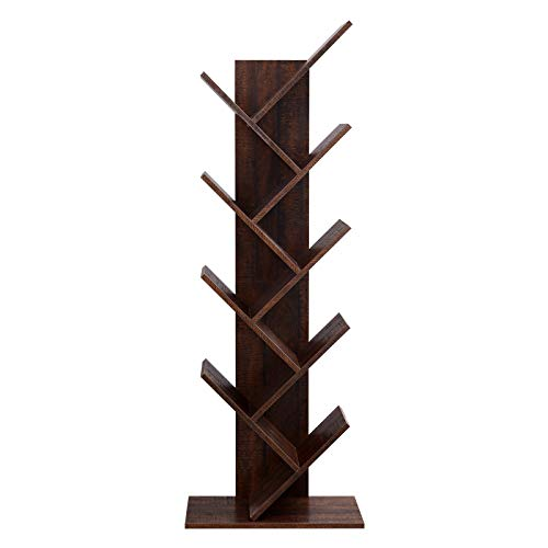VASAGLE 8-Shelf Wooden Tree Bookshelf, Bookcase Display Holder Organizer, Storage for Books, Movies,...
